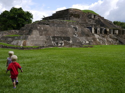 Toddlers at Mayan Ruins, Tazumal, El Salvador